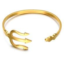 c8336ebe0d7 HIP India Manguito Pulseira Aberta Pulseiras Em Ouro Rosa Prata Titanium  Aço Inoxidável Garfo Tridente