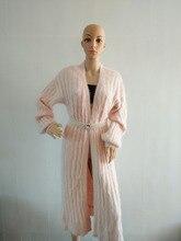 (custom) new natural Plush mink cashmere sweater lady long coat cardigan sweater free shipping