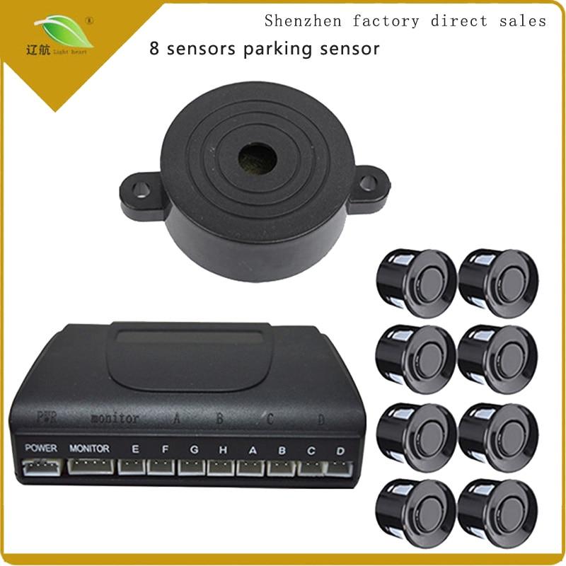 Light heart 8 Sensors Buzzer 22mm Car Parking Sensor Kit Reverse Backup Radar Sound Alert цена