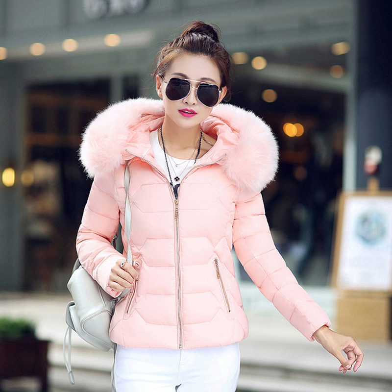 Winter Short Women Jacket Coat Cotton Warm Fur Hooded Parkas Women Outwear Zip Casual Fashion Black Warm Female Coats WT4583 15