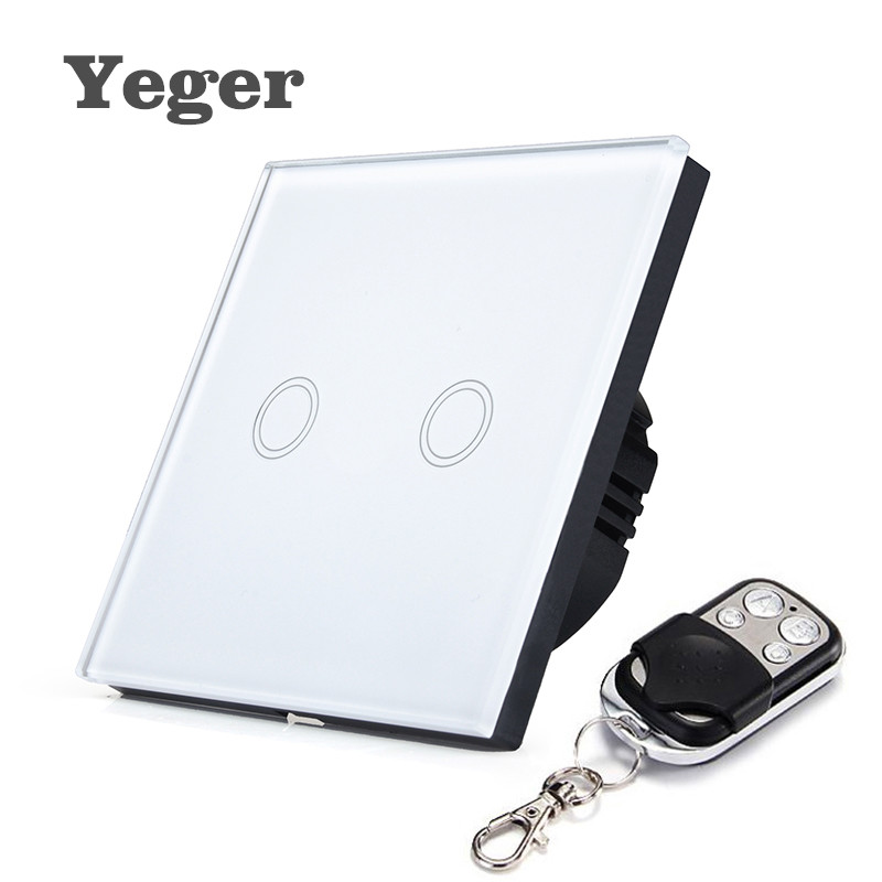 Yeger EU Standard Smart Wall Switch Remote Control Switch 2 Gang 1 Way Wireless Remote Control Touch Light Switch smart home eu touch switch wireless remote control wall touch switch 3 gang 1 way white crystal glass panel waterproof power