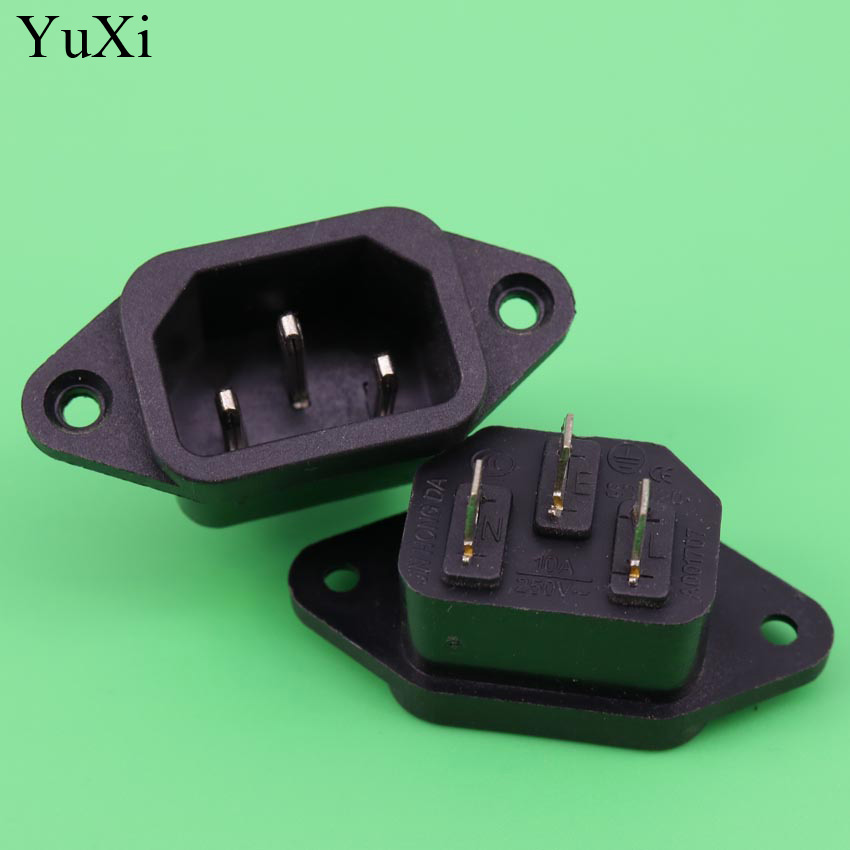 yuxi iec 320 c14 brass male ac power cord inlet power. Black Bedroom Furniture Sets. Home Design Ideas