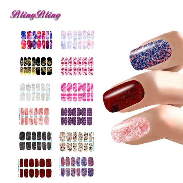 12pcs Flower stickers Nail Stickers set Marble Nail Wraps Manicure ...