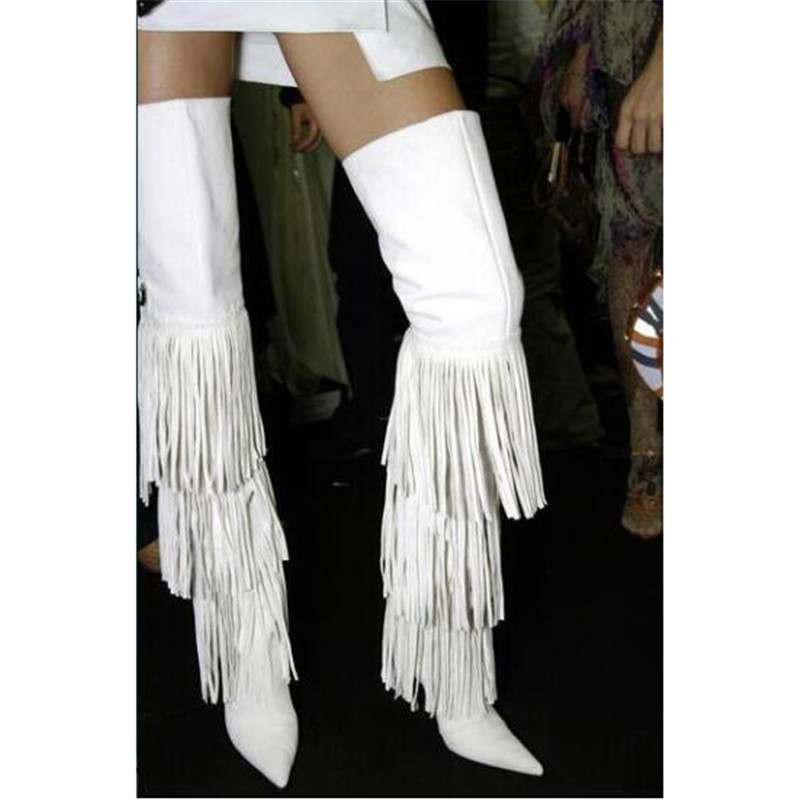 New Fall Winter White Tassels Thigh High Boots For Woman Side Zipper Pointed Toe Stiletto Shoes High Heels Over The Knee Boots