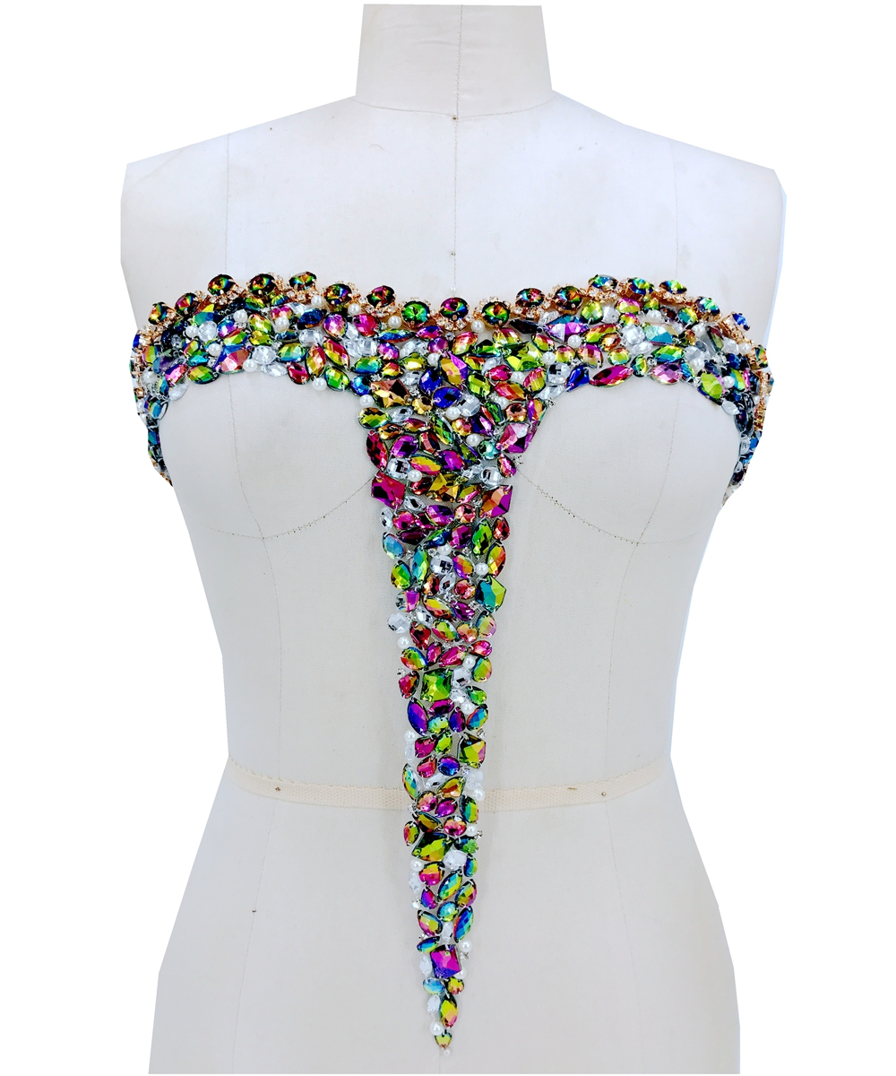 Hand Made Crystals Patches Trim Sew On Multicolored  Rhinestones Applique On Mesh 41*37cm For Wedding Dress