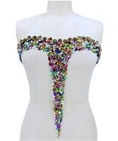Ручная работа кристаллы патчи отделка пришить разноцветные стразы аппликация на сетки 41*37 см для свадебное платье
