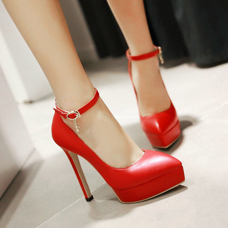 Sexy Fashion Red Bridal Shoes Pointed Toe Ankle Strap Thin High High Heel Pumps Women 2016