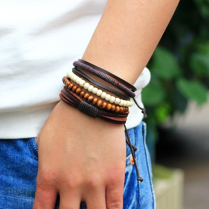 5pcs/lot Vintage Male Handmade Leather Bracelet Bangle Boho Wood Bead Friendship Braslet Man Wrist Band Pulseira Masculina Couro