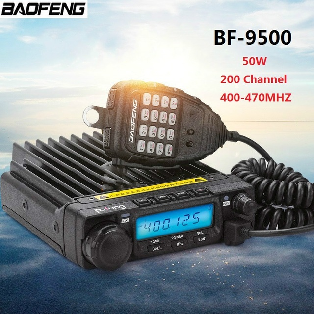 100% Original BAOFENG BF-9500 200 Channel Car Walkie Talkie 50KM Car Radio Station 50W 400-470MHZ Communicator Transmitter