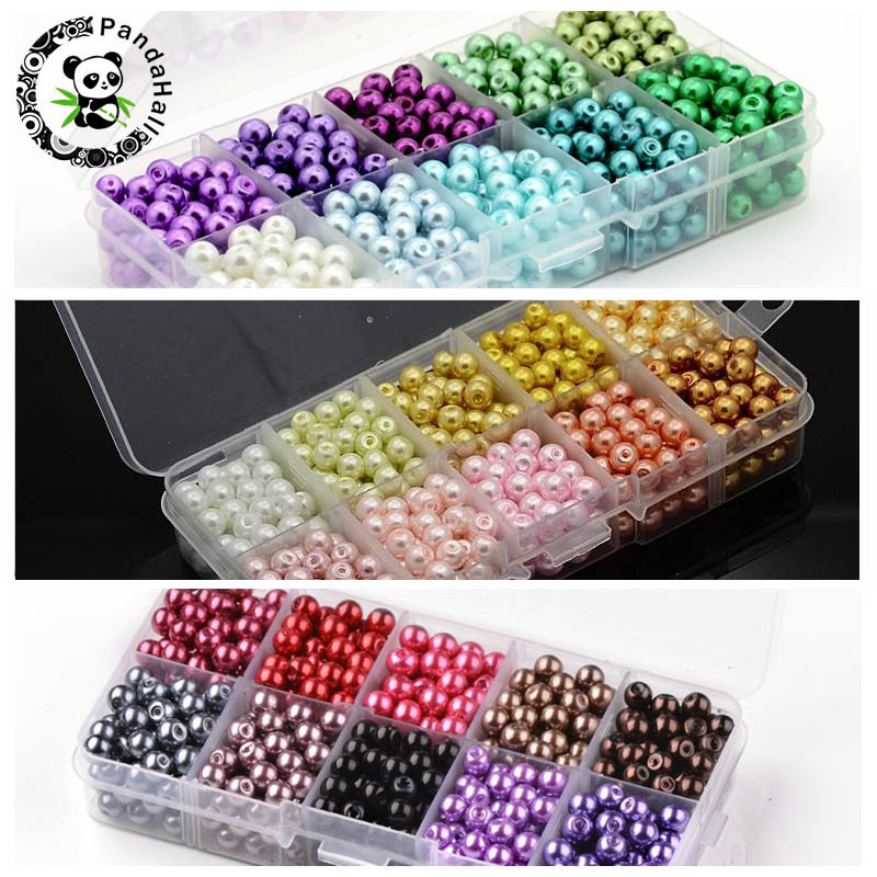 6mm 550pcs Mixed Color Round Imitation Pearl Beads Glass Loose Bead For Jewelry Making Fit Handmade DIY Bracelet Necklace