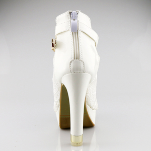 Image 3 - בתוספת גודל 35 42 אופנה סנדלי בוהן ציוץ סקסי נשים פלטפורמת משאבות תחרה רשת עבה גבוהה עקבים נעלי קרסול אתחול קיץ Sandalet