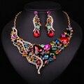 Новая Мода Великолепная Кристалл Себе Серьги Ожерелья Позолоченный Свадебный комплект Ювелирных Изделий Свадебная Вечеринка Аксессуары Подарок Для Женщин