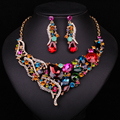 New Fashion Gorgeous Crystal Statement Necklace Earring Gold Plated Bridal Jewelry set  Wedding Party Accessories Gift For Women