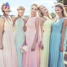 Cheap Convertible A Line Chiffon Long Bridesmaid Dresses Wedding Party Dresses Customized