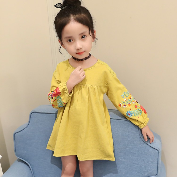 new fashion 3-15 years old spring autumn child clothes girl embroidery dress baby dresses children clothing kids dress 2016 autumn and spring new girl fashion cowboy short jacket bust skirt two suits for2 7 years old children clothes set