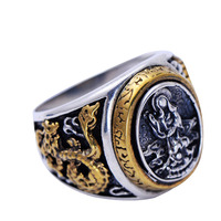 Jade Angel Mens 925 Silver Golden Two Tone Retro Dragon Black Silver Ring Father's Day Gifts Thanksgiving Gifts Christmas Gifts