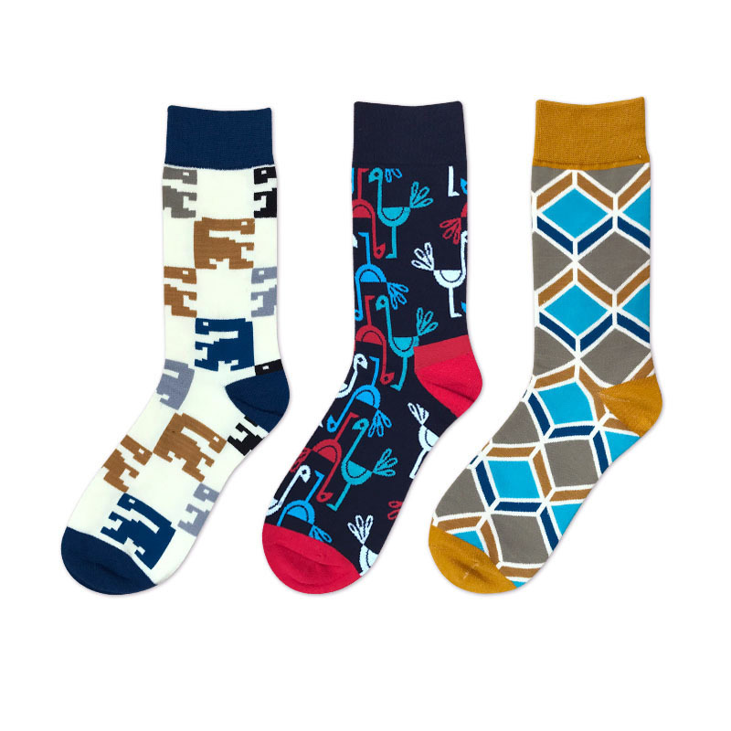 New Novelty Men Cotton Crew Socks Argyle Flamingos Monsters Pattern Happy Sox British Style Casual Harajuku Designer Brand Cool