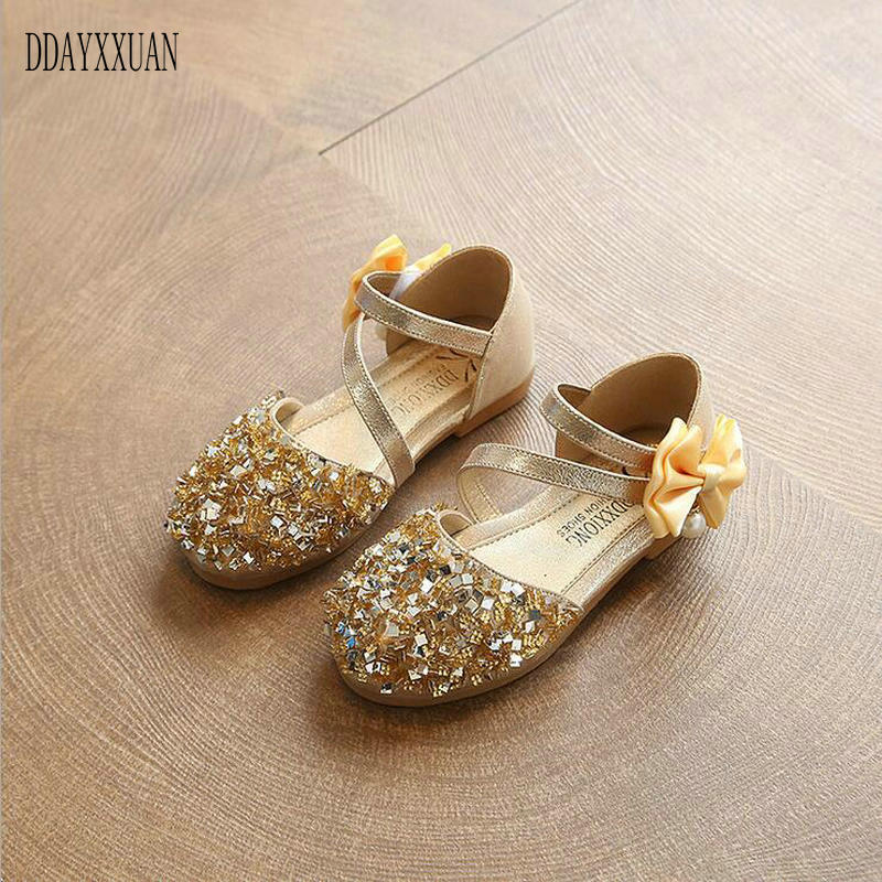2018 New Fashion Children Shiny Sandals Sequins Glitter Shoes For Girls Spring Autumn Kids Princess Dance Party Shoes EU 21-36