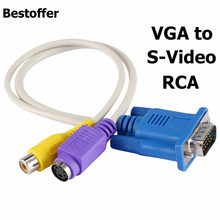 Tahan Lama PC/Laptop Vfa SVGA untuk S-video 3 RCA Out AV Komposit TV Converter Kabel(China)