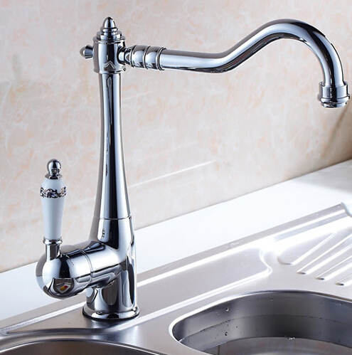 Bathroom Basin Faucet Chrome Polished Sink Faucet Brass Swivel Ceramic Handle Kitchen Faucet/ Bathroom Basin Mixer Tap Faucet ydl f 0506 kitchen brass sink basin mixer tap chrome spray swivel faucet silver black