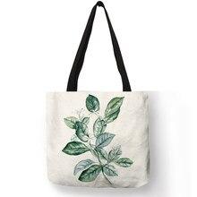 d2137d81e919 Уникальная сумка для дам тропический зеленый завод пальмовых листьев сумка  эко Лен для женщин декоративные сумки для покупок