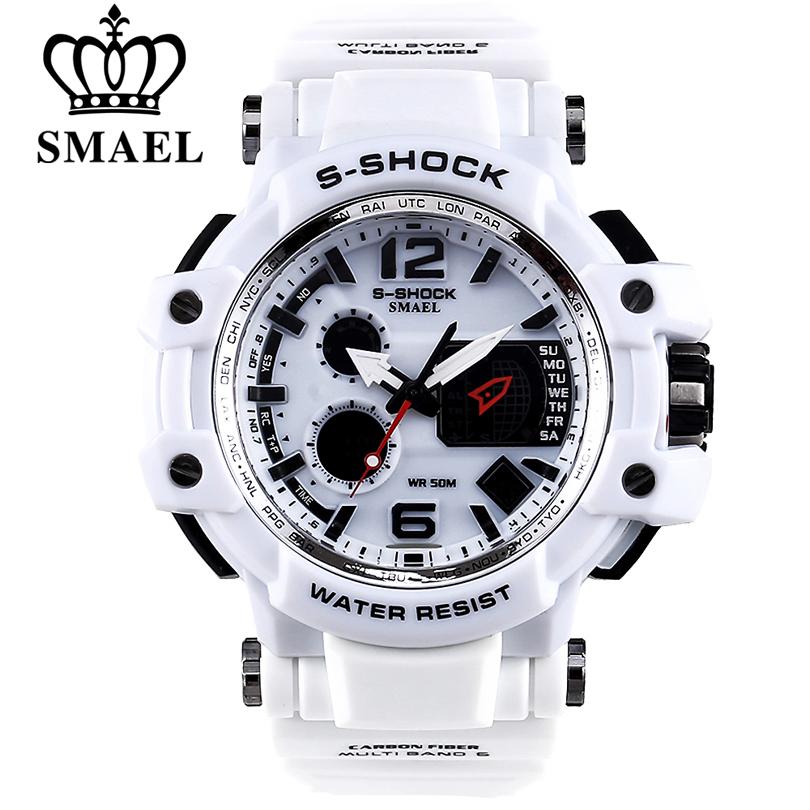 Prix pour SMAEL Marque Hommes Quartz Numérique Montre des Sports des Hommes Montres S Choc Mâle Horloge Relogios Masculino LED 30 M Étanche montres
