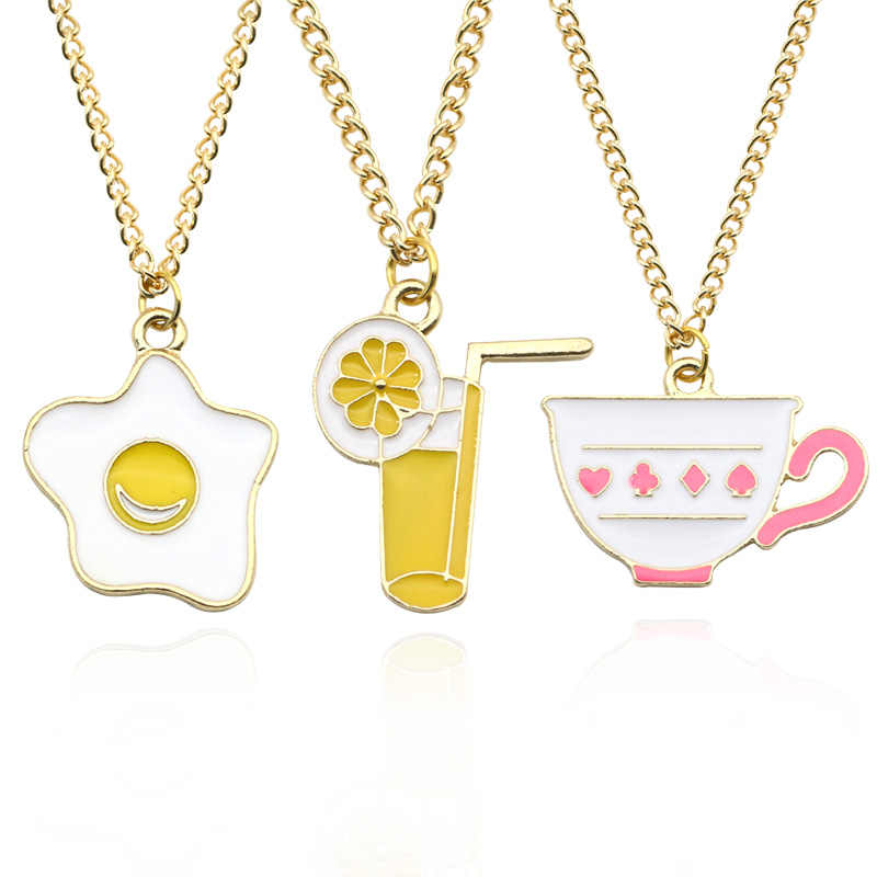 Fashion Enamel Drip Poached Egg Cup Lemon Juice Foods Series Pendant&Necklace Cute Kawaii Gold Chain Necklace Creative Jewelry