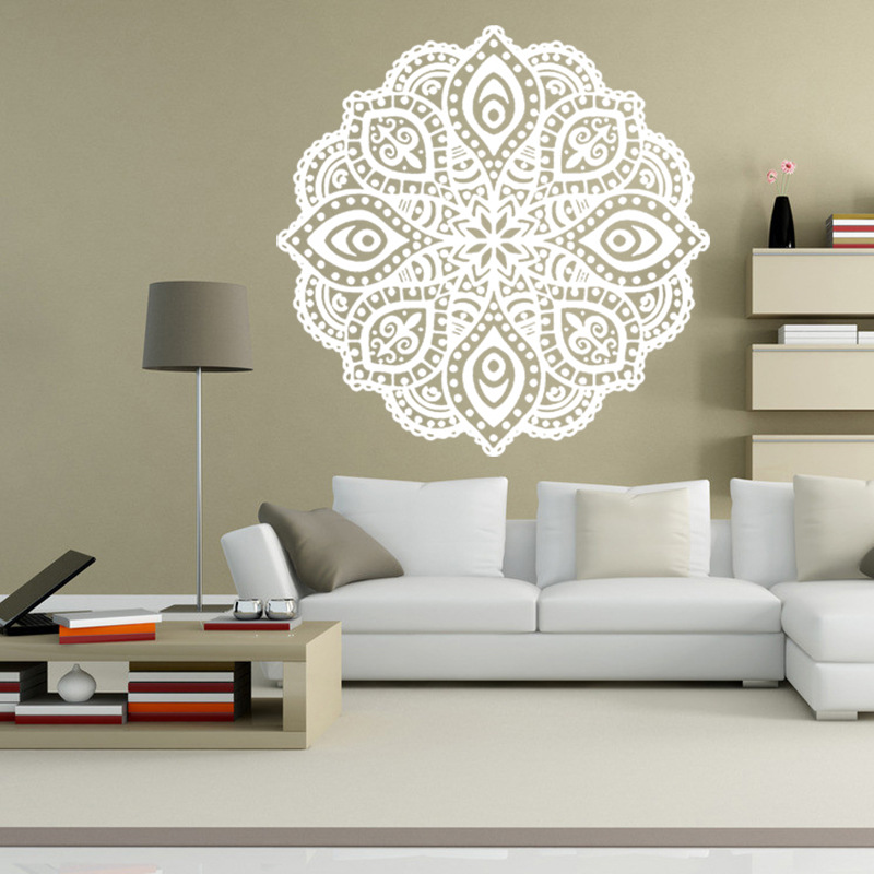 large wall stickers for living room india country ideas with fireplace and tv buddhist art mandala removable waterproof home decoration decal mural 6 colors each