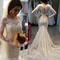 Vintage Lace Mermaid Wedding Dresses 2017 Ivory Long Sleeve Wedding Gowns Elegant Illusion Neck Vestidos De