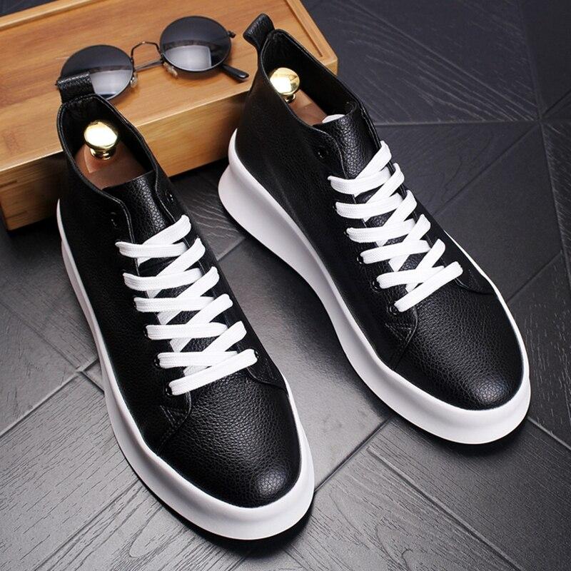 Stephoes 2019 hommes mode décontracté bottines mâle haut printemps automne respirant baskets en cuir véritable épais bas chaussures