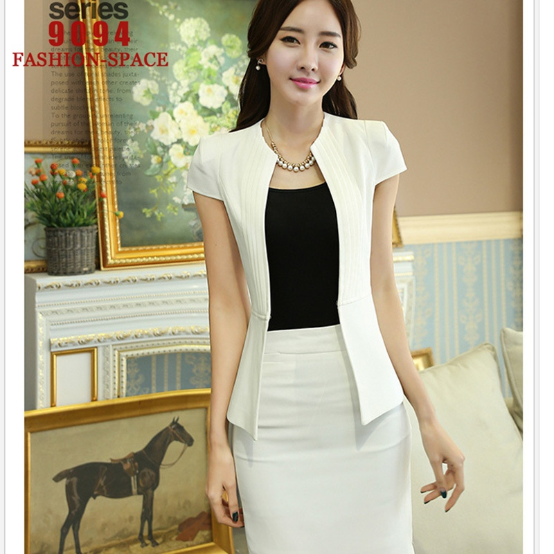 bf307c22da Female Work Skirts Womens Business Suits Terno Feminino Blazer Set Ladies  Uniform Design Conjunto Feminino De Saia e Blusa N321-in Pant Suits from  Women s ...