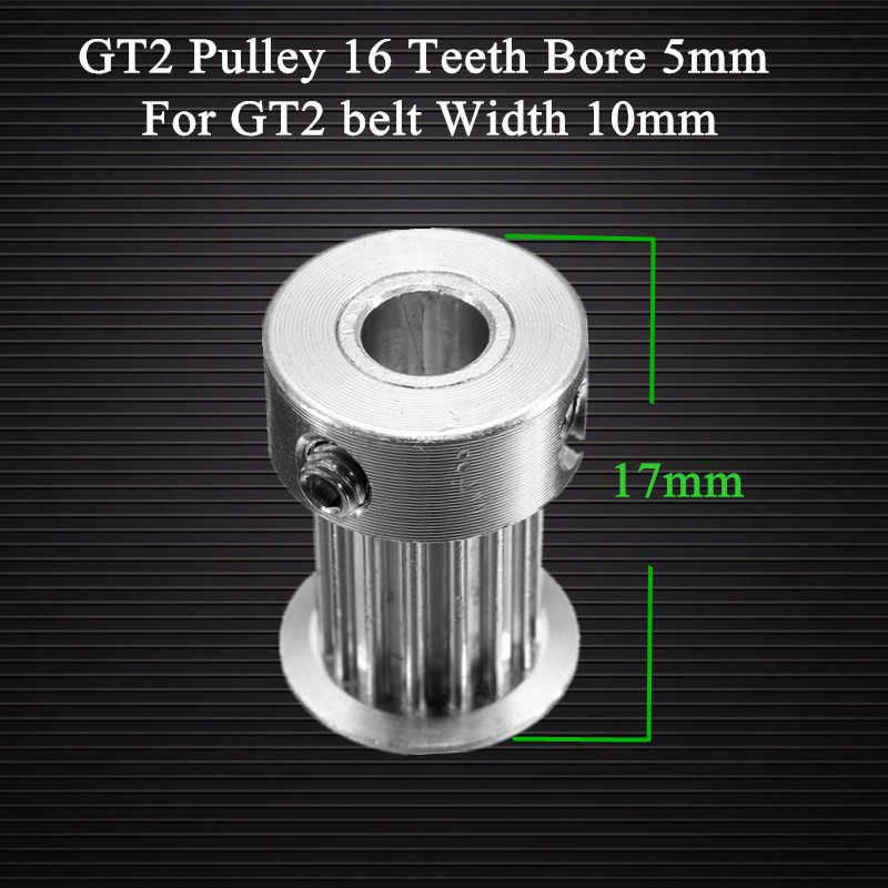 Gt2 توقيت بكرة 16 الأسنان 16 الأسنان تتحمل 5 ملليمتر الأسنان والعتاد ألوميوم ل gt2 حزام العرض 10 ملليمتر ل أجزاء الطابعة 3d اكسسوارات