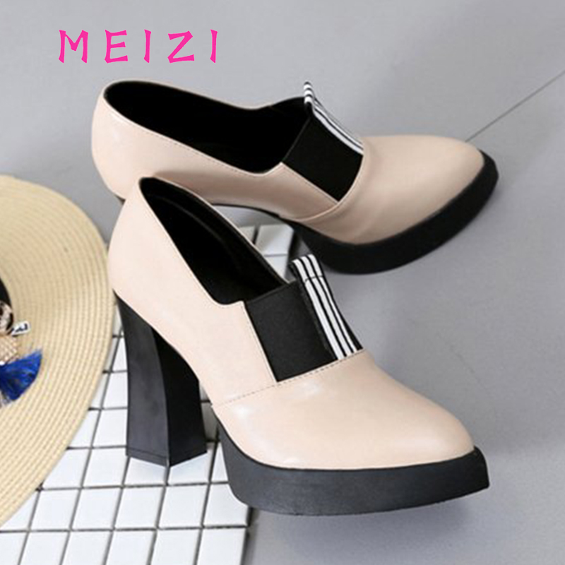 MEIZI 2017 High Quality   Women Sexy shoes Thick Heels Slip-On Women's Leafer Shoes New Spring Ladies Shoes Ankle Strap shoes тональный крем meizi