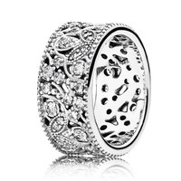 Authentic 925 Sterling Silver Ring Shimmering Leaves Statement Crystal Rings For Women Wedding Party Gift Fit