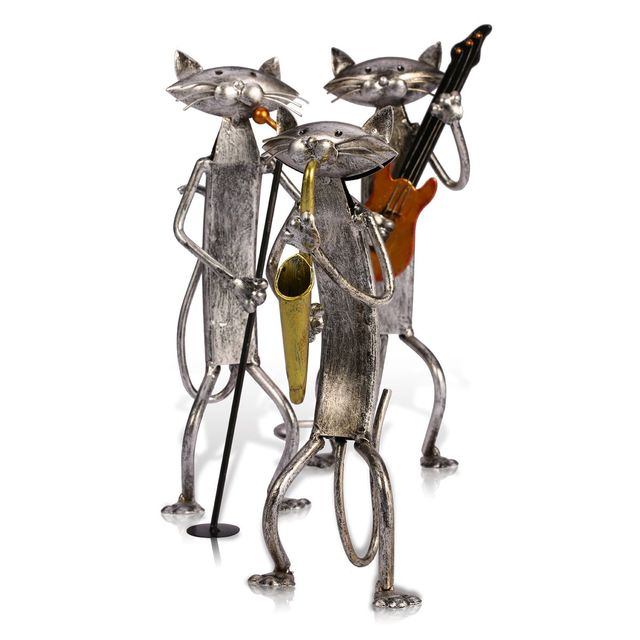 Tooarts Metal Figurine pop A Playing Guitar Saxophone Singing Cat Figurine Furnishing Articles Craft Gift For Home Decoration 5