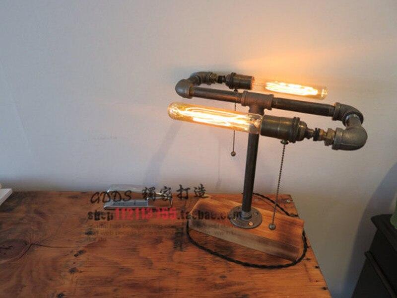 ФОТО Loft Vintage Industrial Water Pipe Table Light Edison Desk Wood Lamp Double Bulb