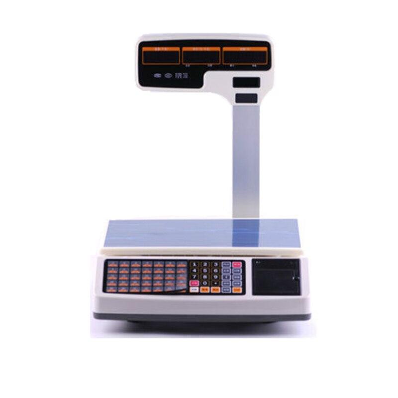 1000PLU Digital 30kgs impression de reçus thermiques échelle de pondération prise en charge de l'impression multilingue pour les magasins de fruits ou les magasins de détail