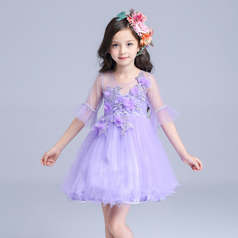 Beautiful Girls Dresses Child Purple Flower Girl Vestidos 2017 Fashion Kids Clothes for 3 4 5 6 7 8 9 10 11 12 T AKF164102