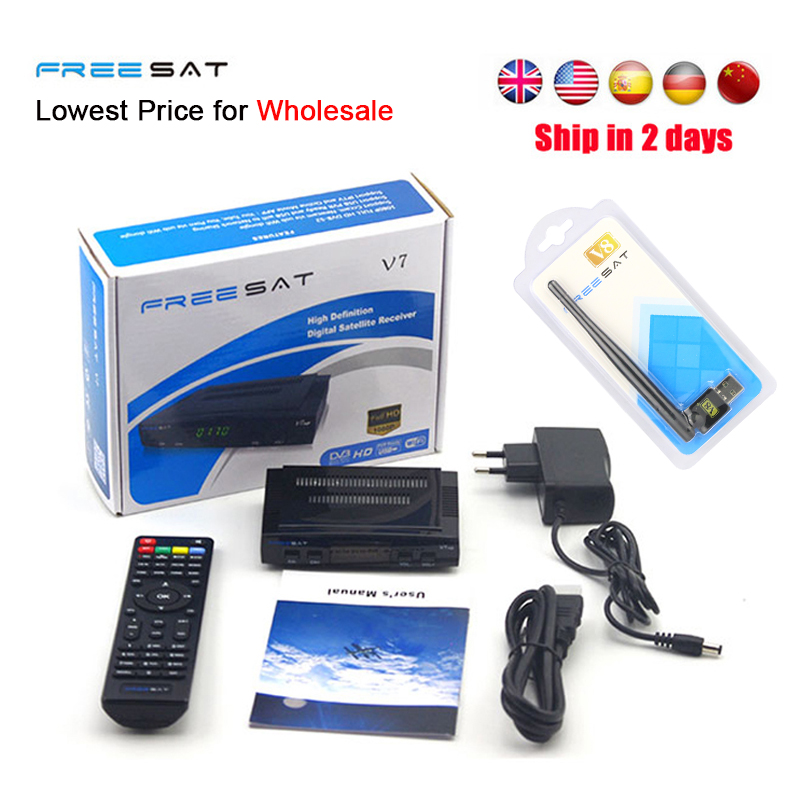 Freesat V7 HD Receptor satellite Decoder Support PowerVu Biss Key Clines Newcamd Youporn 3G dongle HD DVB-S2 Satellite Receiver de it es channels dvb s s2 satellite fta lines 1 year cccam clines newcamd usb wifi satellite tv receiver for free shipping
