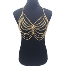 hot deal buy sexy bikini chainmail tops harness bra body chest chain silver gold  body jewelry boho necklace girls gift by180