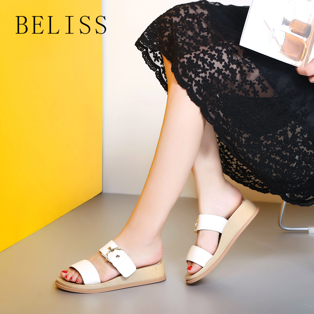 Cuero Del Verano Pisos Zapatos Plataforma Mujeres Mujer S12 Red Dedo De Casuales white Las Zapatillas Genuino Pie Beliss Peep Playa Hebilla xwqAv61pt