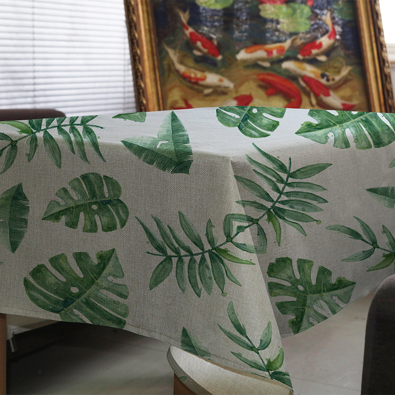 Table cloth Tropical Jungle Palm Leaves Green Monstera Fronds Cotton Linen Tablecloth