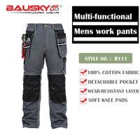 Bauskydd мужские мужской прочный спецодежды нескольких карман брюк с наколенниками для безопасности труда 100% хлопок работы Штаны Бесплатная д...