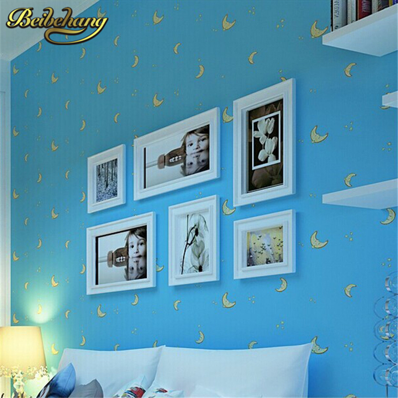 beibehang Home Decoration wallpaper Cartoon Moon Stars Kids Wallpaper Non-Woven Children Room Wall Paper Roll photo mural beibehang new children room wallpaper cartoon non woven striped wallpaper basketball football boy bedroom background wall paper
