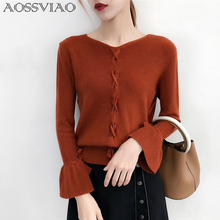 knitting pullover Fashion lace up autumn winter sweater women tops 2019 Casual jumper pull femme positive and negative wearable plus lace up jumper