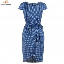 2019 Summer Women Blue Polka Dot Print Pencil Dress 100% Cotton Stretchy Sashes Retro Bodycon Dress O Neck Short Sleeves Vestido
