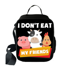 I Don't Eat My Friends Lunch Bags for Women Student Food Storage Box Go Vegan Thermal Insulated Picnic Bags Small Kids loncheras