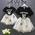 2016 summer new kids clothing set cat t shirt+white tutu skirt 2 pcs girs clothes black infant party roupas infantis menino
