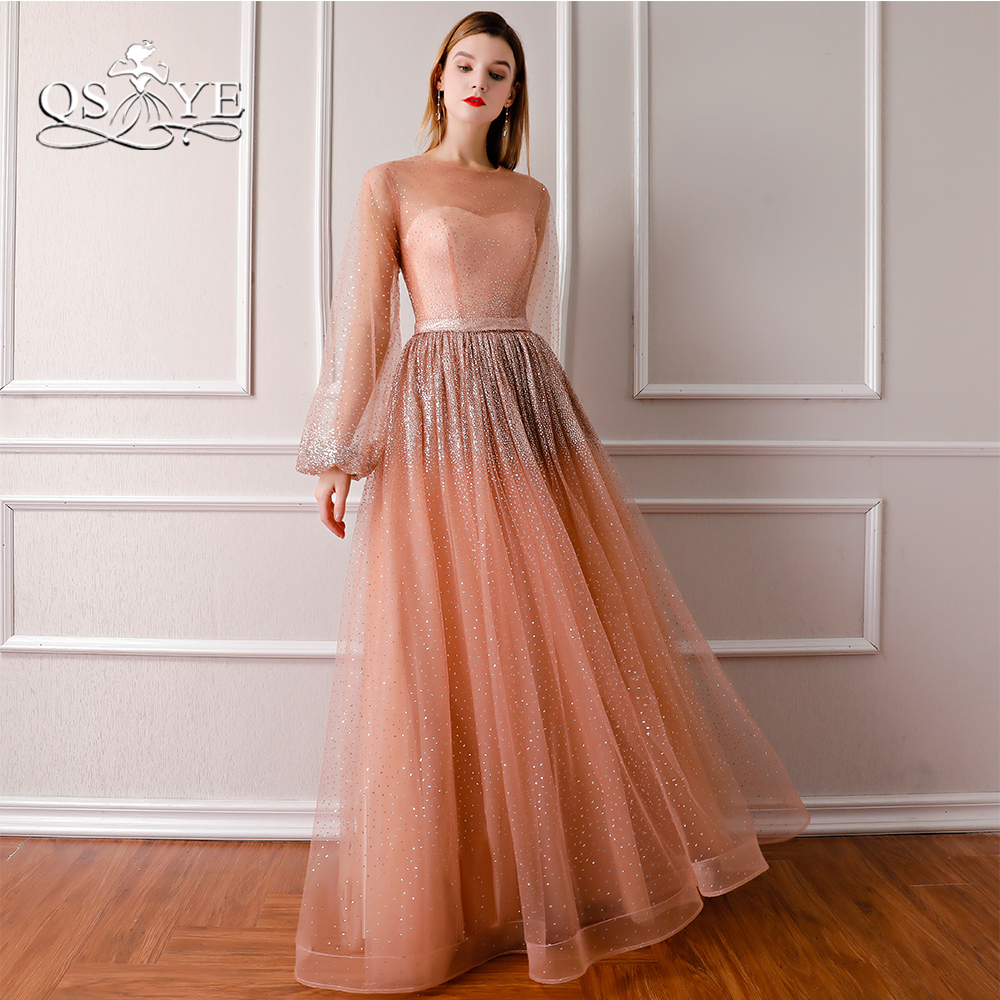 QSYYE 2018 New Arrival Pink   Evening     Dresses   Robe de Soiree Long Sleeve Sparking Beading Floor Length Tulle Long Prom   Dress