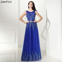 JaneVini Charming Royal Blue Long Bridesmaid Dresses A Line Scoop Neck Sequins Beaded Zipper Back Tulle Wedding Party Dress 2018